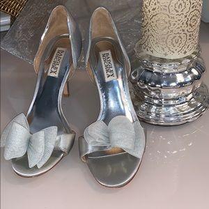 BADGLEY MISCHKA silver satin heels